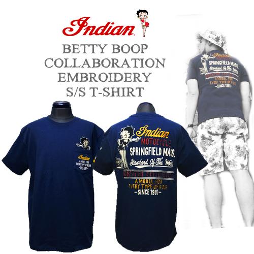 インディアンモーターサイクル【INDIAN MOTORCYCLE 】BETTYBOOP EMBROIDERY S/S T-SHIRT(ベティーブープコラボ刺繍半袖Tシャツ)送料無料01