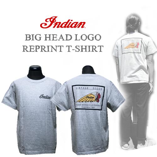 ポルタアンドゲートPORTAANDGATEインディアンモトサイクル【INDIAN MOTOCYCLE 】BIG HEAD LOGO REPRINT S/S T-SHIRT(ビックヘッド復刻ロゴポケットTシャツ)01