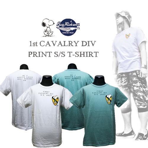 ポルタアンドゲートPORTAANDGATEバズリクソンズ【BUZZRICKSONS 】PEANUTS SNOOPY/1ST CAVALRY DIV PRINTS/S T-SHIRT(ピーナッツスヌーピー半袖Tシャツ)01