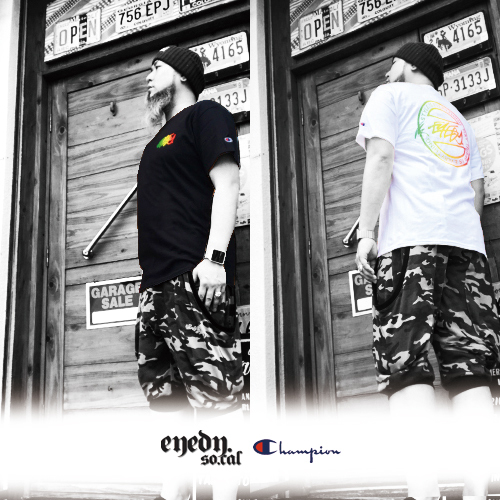 ポルタアンドゲートPORTAANDGATEアイディー/EYEDY/チャンピオン/CHAMPION/CHAMP RASTA CIRCLET PRINT S/S T-SHIRT(チャンプラスタシークレットTシャツ)04