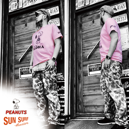 サンサーフ/SUNSURF/スヌーピー/PEANUTS SNOOPY/ALOHA PRINT S/S T-SHIRT(アロハデザイン半袖Tシャツ)送料無料、東洋エンタープライズ、ハワイ、HAWAII、ハワイアン、アメリカン、アメカジ、ミリカジ04