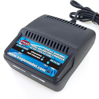 イーグルフォース 2本充電可能 リポ LiPo専用 Li-Poデュアルバランシングチャージャー 2-3S 7.4V-11.1V用