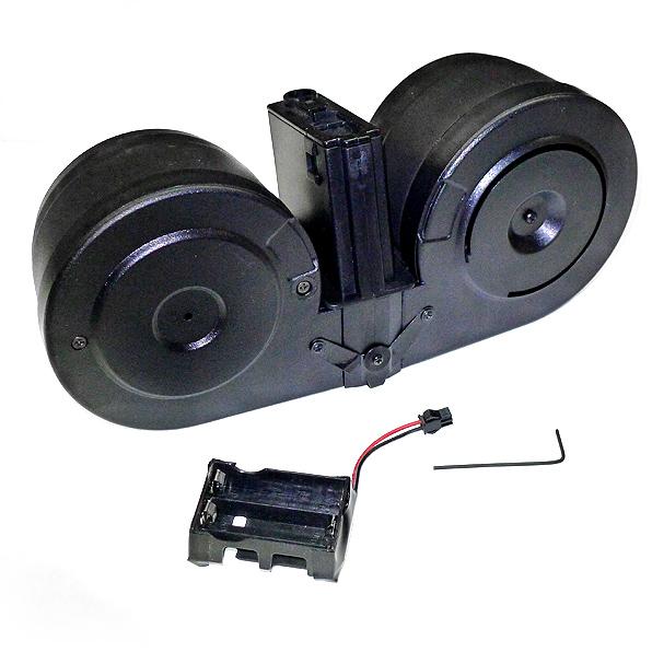 スタンダードM4 M16電動ガンシリーズ対応 音感センサー電動給弾ドラムマガジン 2500連収納