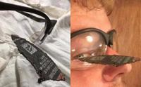アイプロテクション着用推奨、電動工具を使った作業中の危機一髪の写真