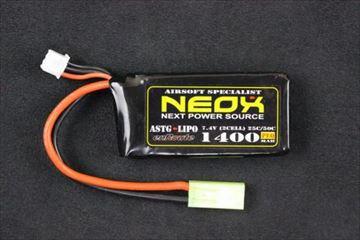 NEOX Lipoバッテリー 電動ガン用 7.4v 25C50C 1400mAh PEQ用