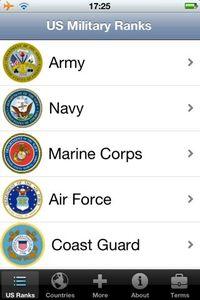 米国陸海空海兵隊、沿岸警備隊の階級を調べるアプリ